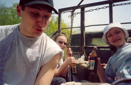 С пивом на лесовозе